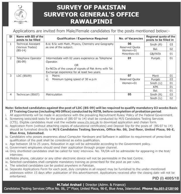 Surveyor General Office Rawalpindi Jobs 2021 CTS Test Application Form Candidates List