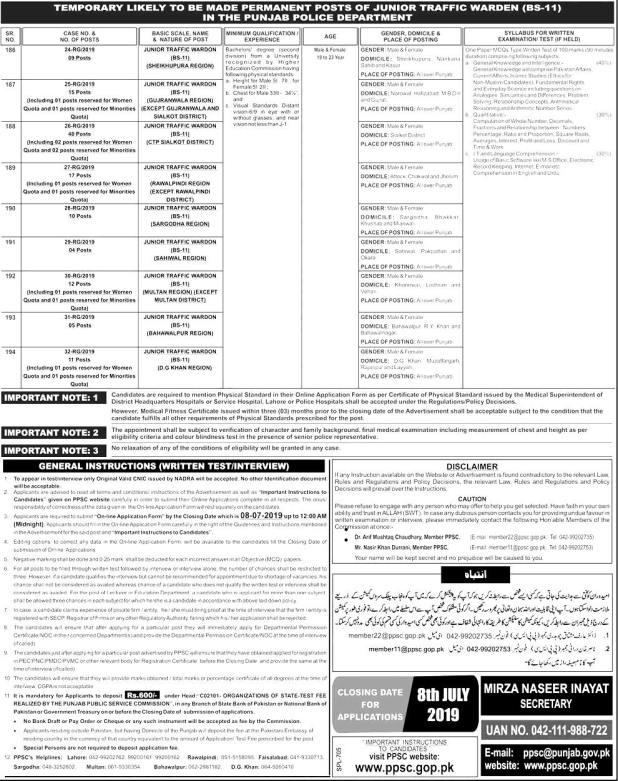 Junior Traffic Warden PPSC Jobs 2021