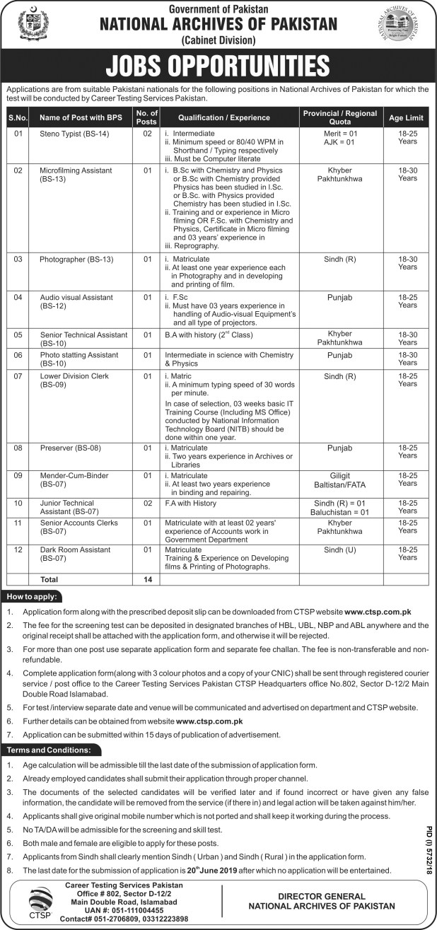 National Archives of Pakistan Jobs 2021 application form Eligibility criteria