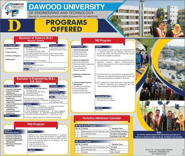 DUET Karachi Admission Fall 2021 Entry Test Dates Schedule Apply Online