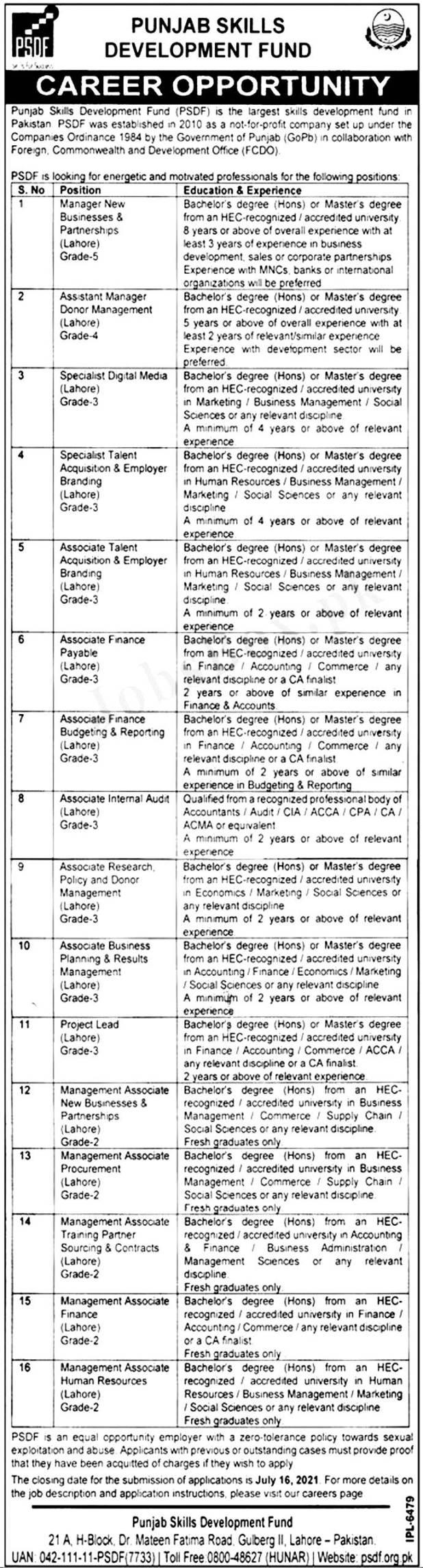 Punjab Skills Development Fund PSDF Jobs 2021 Application Form Download