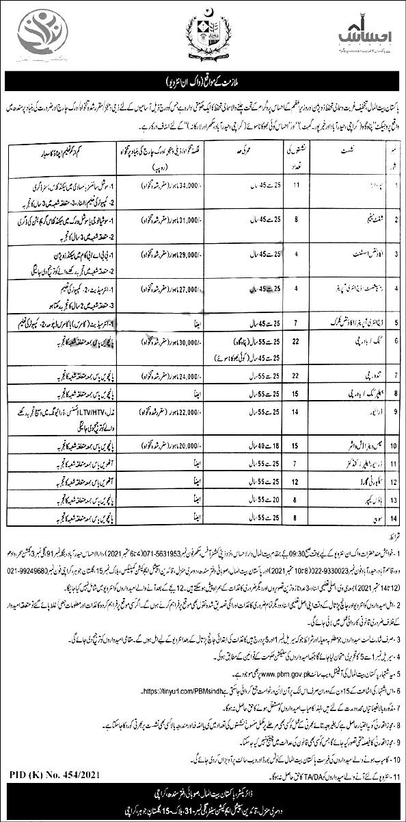 Pakistan Bait ul Mal PBM Sindh Jobs 2021 Apply Online Eligibility Criteria