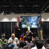 Some Wigglers distracting a hunter as a penalty during the Monster Hunter Fanime Challenge.