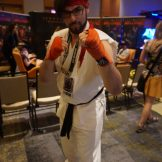 A bespectacled Ryu from Street Fighter.