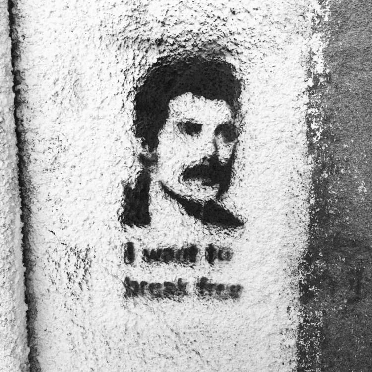 A Freddie Mercury stencil in North Nicosia