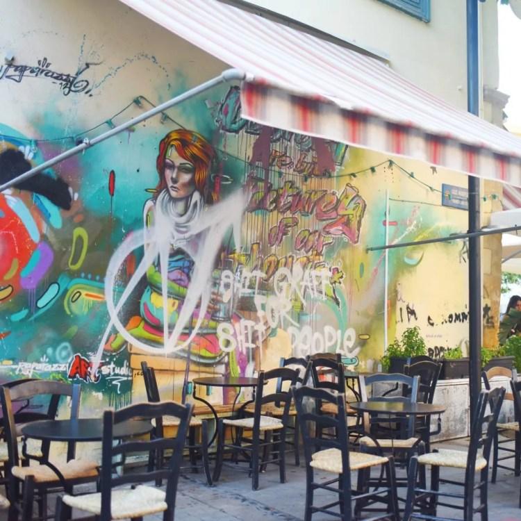 A mural adorning a cafe in Nicosia