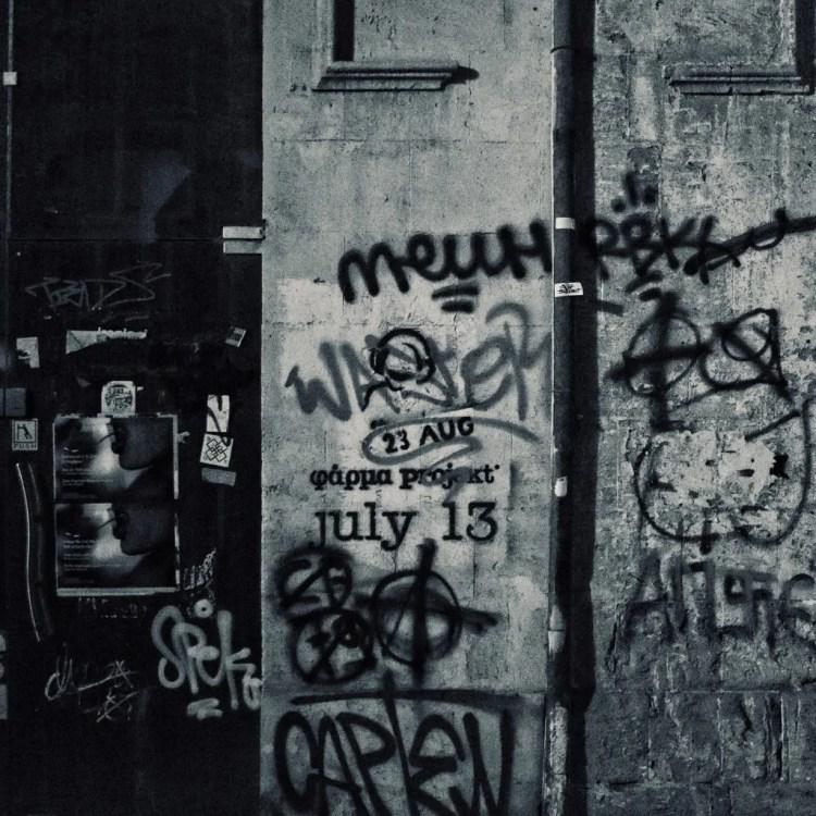 A collection of different stencils and graffiti in Nicosia