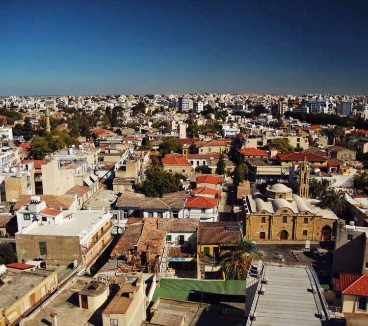 View of the Old City in Nicosia from the Ledra Street Observatory