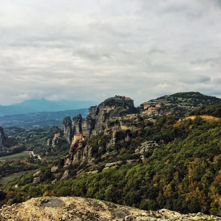 View of 4 of the 6 remaining monasteries in Meteora