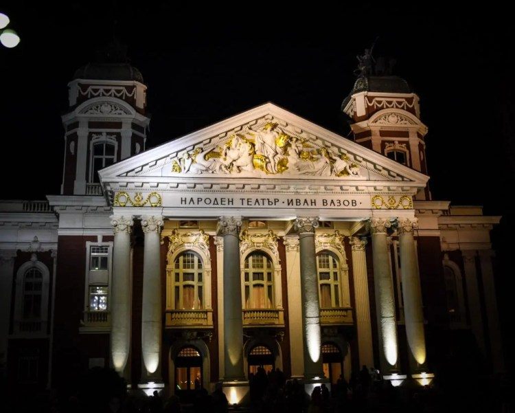 The National Theater outside the Market looks wonderfully rich in Winter