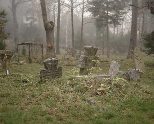 The small graveyard at Boyana in the fog