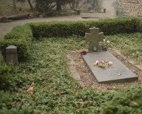 The grave of Queen Elenora. She saved Boyana Church from being destroyed and requested to be buried in the churchyard. During the socialist era, her grave was vandalized. The grave was restored after the fall of communism.