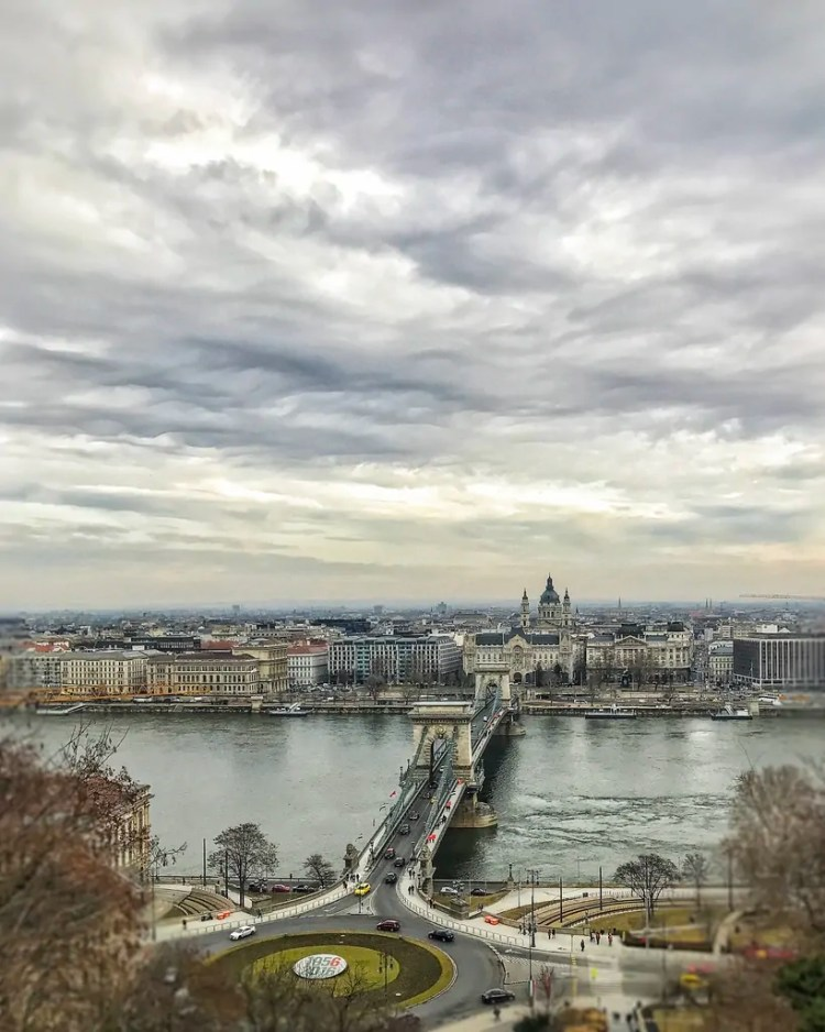 View of the Chain Bridge over the Danube River