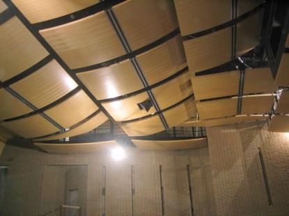 Cận cảnh Tán âm trần nhà hát với gỗ tán âm