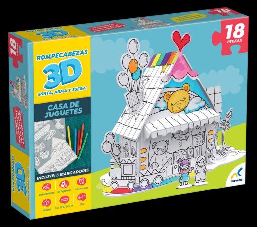 JCA-2441 ROMPECABEZAS 3D PARA COLOREAR CASA DE JUGUETES