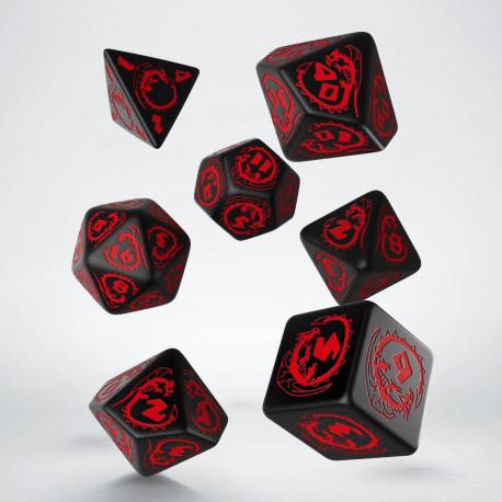 Q Workshop Dragons Black & Red 7 Dice Set (SOBRE PEDIDO)