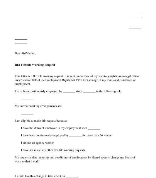Flexible Working Request Letter Samples & Templates Download