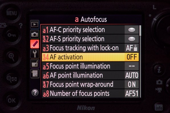 Setting the autofocus controls