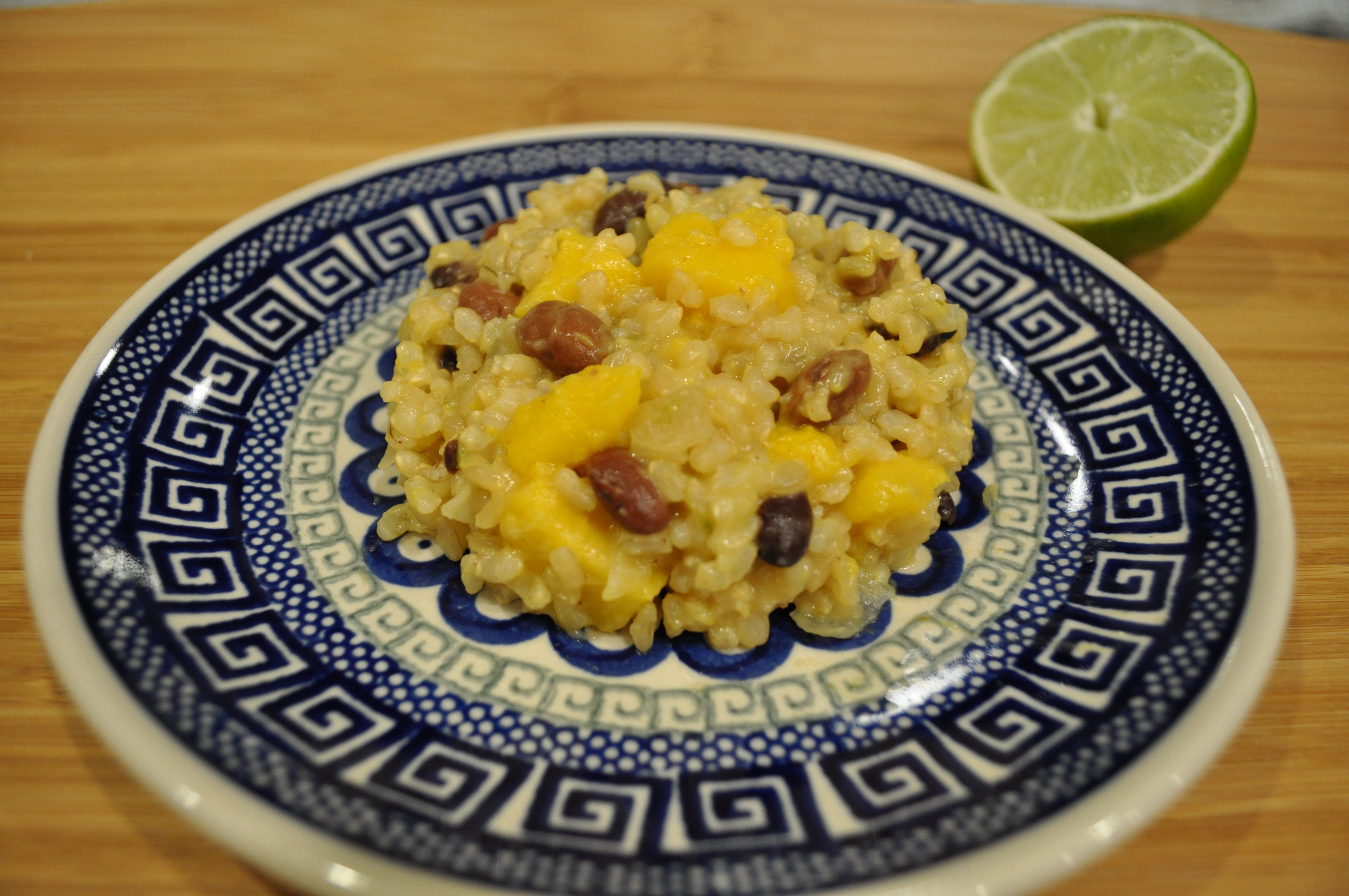 Coconut-Lime Rice with Red Beans and Mango
