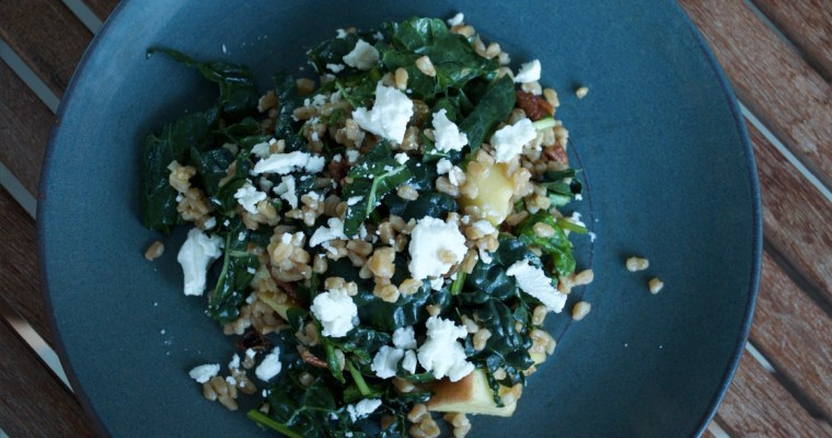 Farro, Apple & Kale Salad with Pomegranate Vinaigrette
