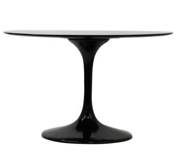 Lippa Saarinen Inspired Fiberglass Round Dining Table in Black2