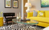 Cozy Living Room With Yellow Sofa And Black-White Carpet ...