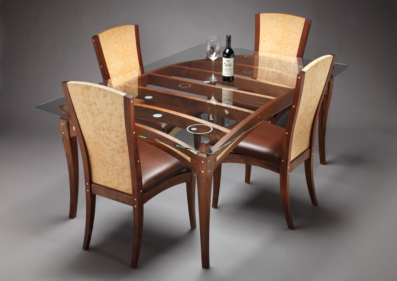 Wooden Dining Table Designs With Glass Top #13554