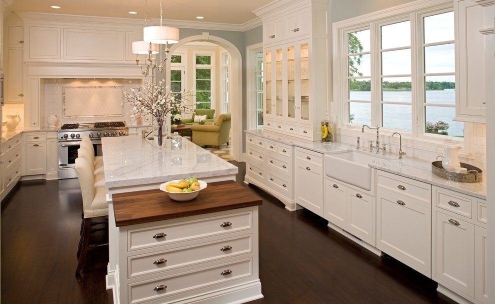 New European Kitchen With Elegant Furniture And Lighting
