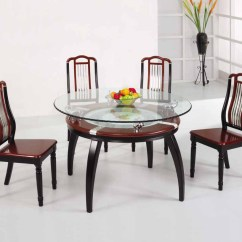 4 Chair Dining Table Designs Armchair Tray Wooden With Glass Top 13554 House
