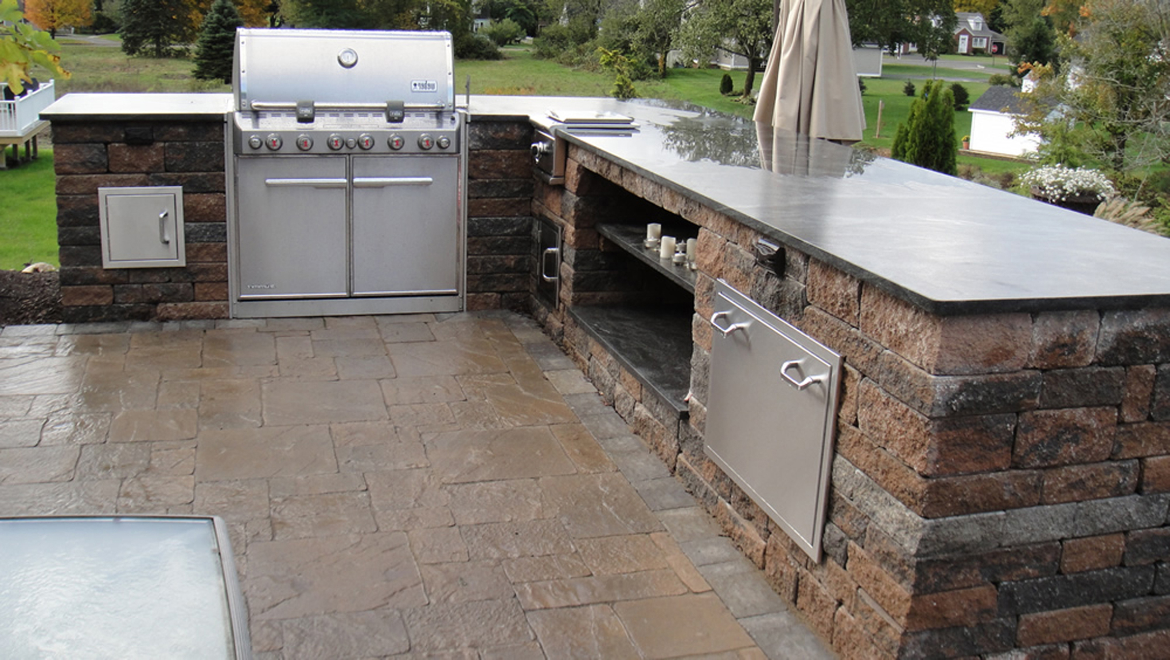 l shaped outdoor kitchen moen waterhill faucet contemporary interior remodel ideas 3