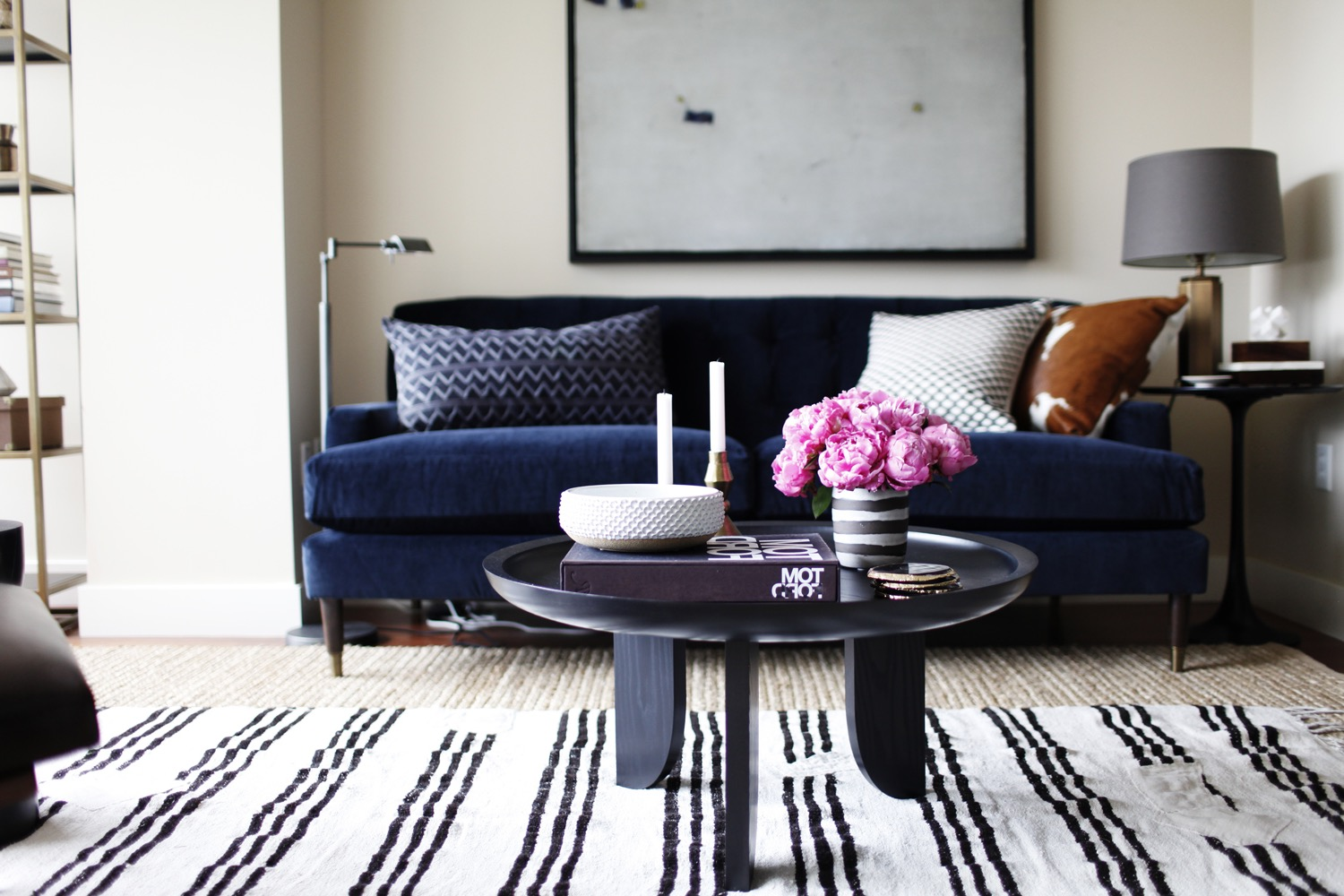 navy blue striped sofa 50 wide table modern for living room decoration 16189