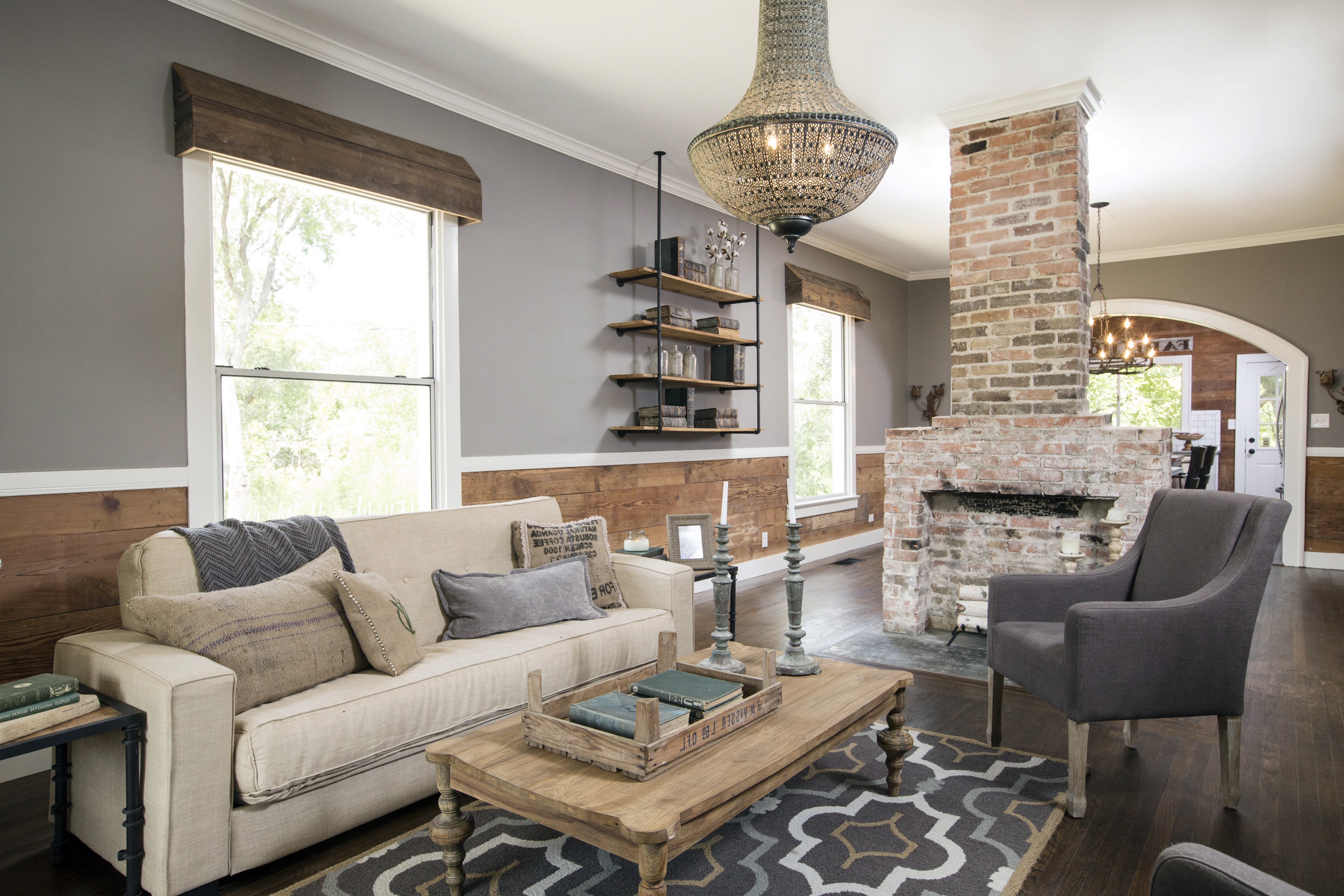 Rustic Dining Room And Living Room Interior 16059