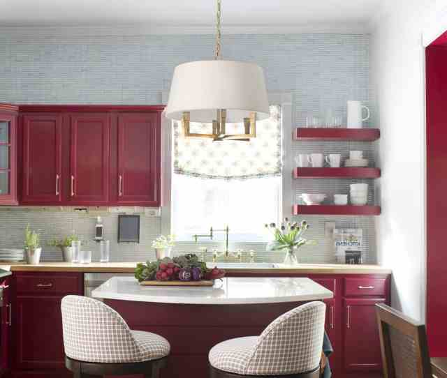 Modern Burgundy Kitchen Makeover With Wood Cabinets Image
