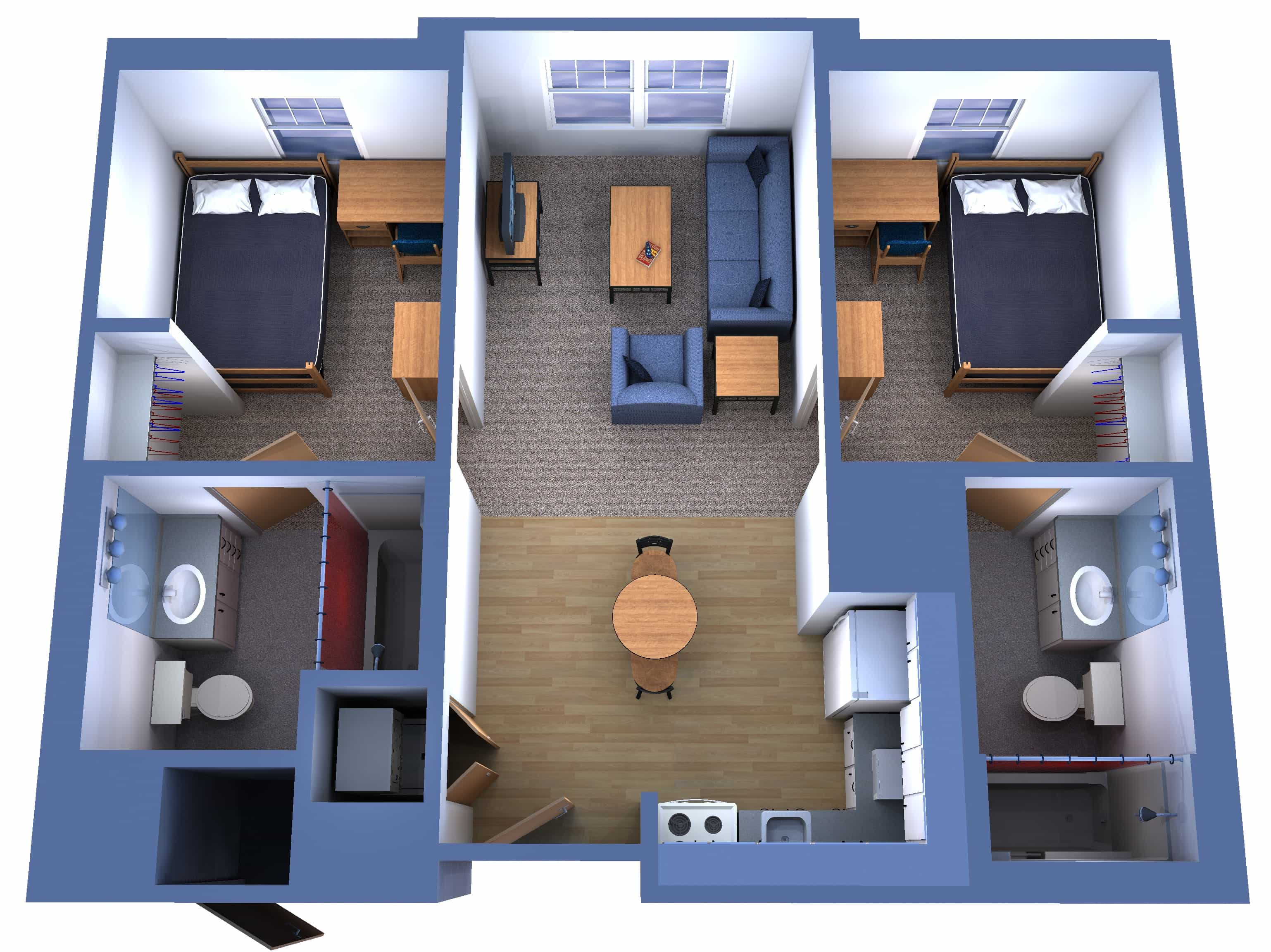 3D Two Bedroom House Layout Design Plans 22449 Interior
