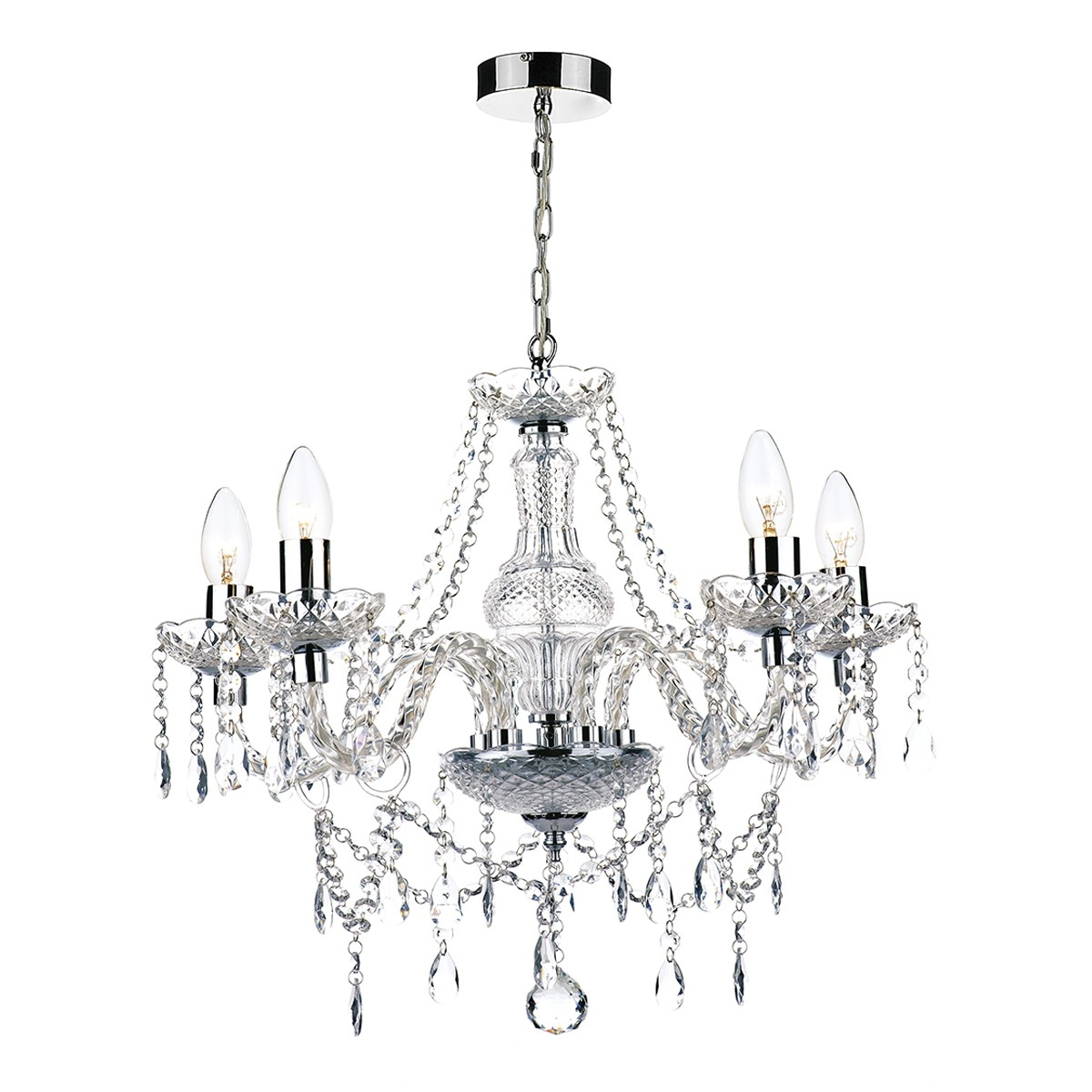 15 Chrome And Glass Chandelier