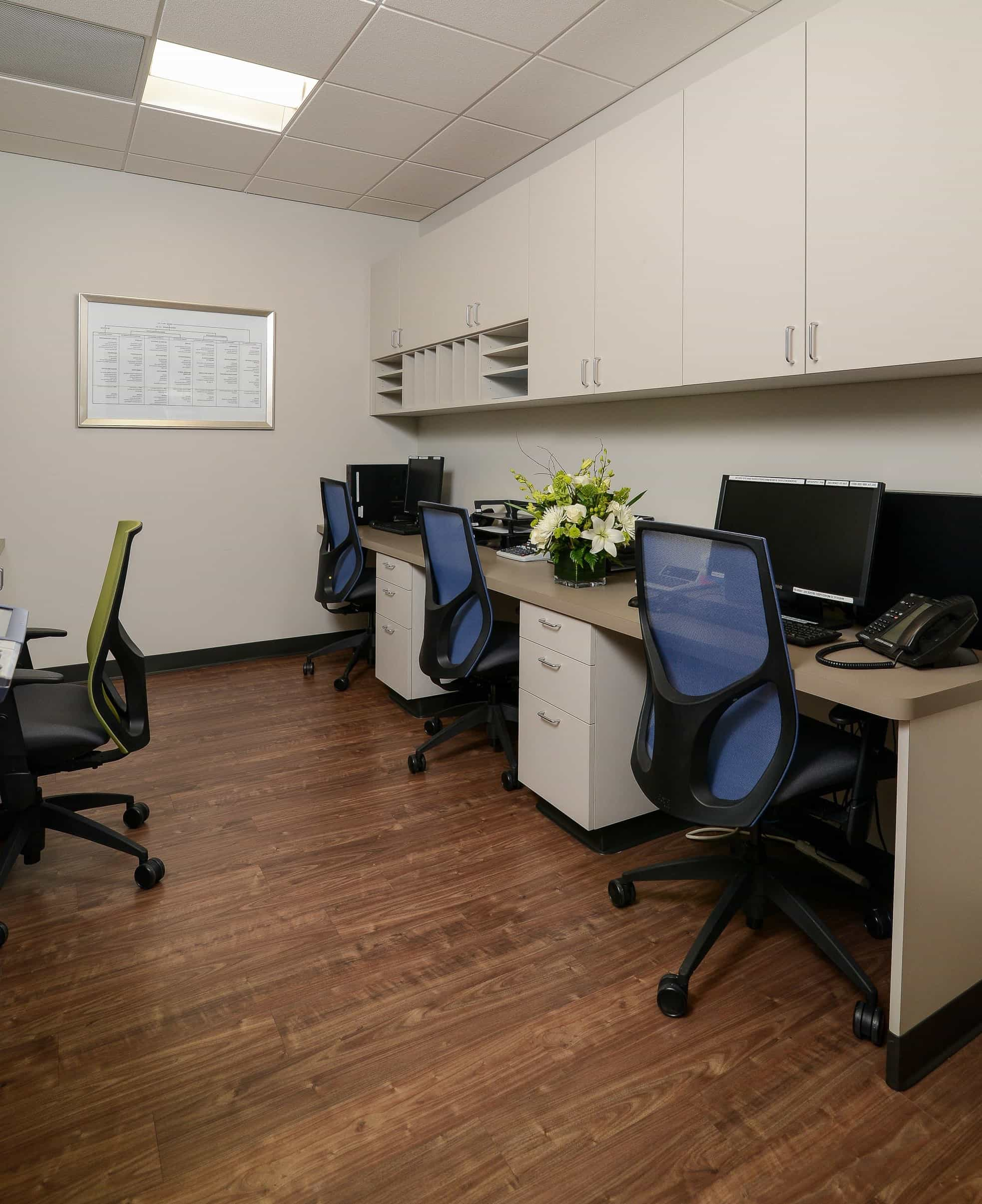 Contemporary Office With Colorful Desk Chairs 49642