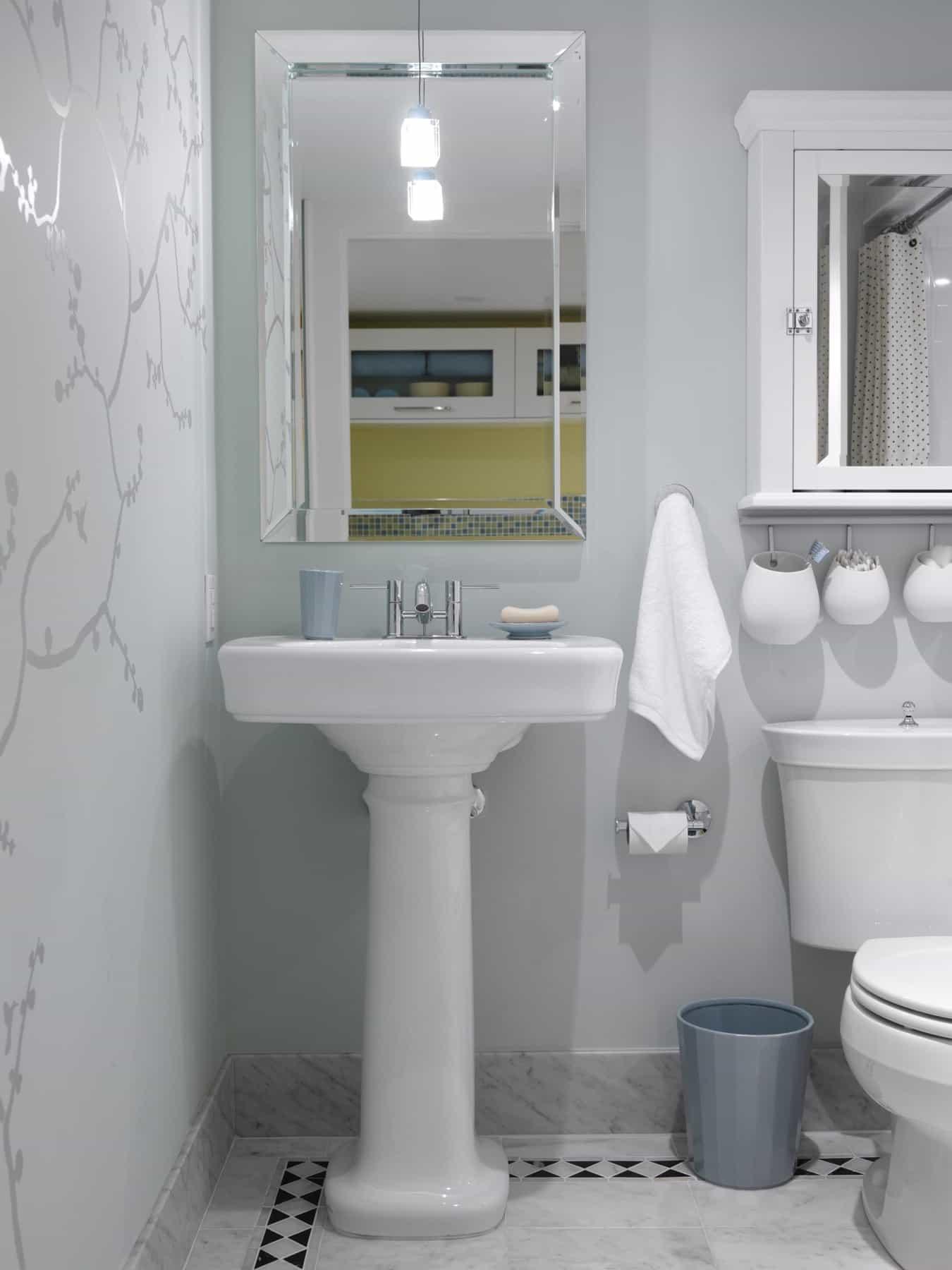 Cottage Pedestal Sink For Small Vintage Bathroom