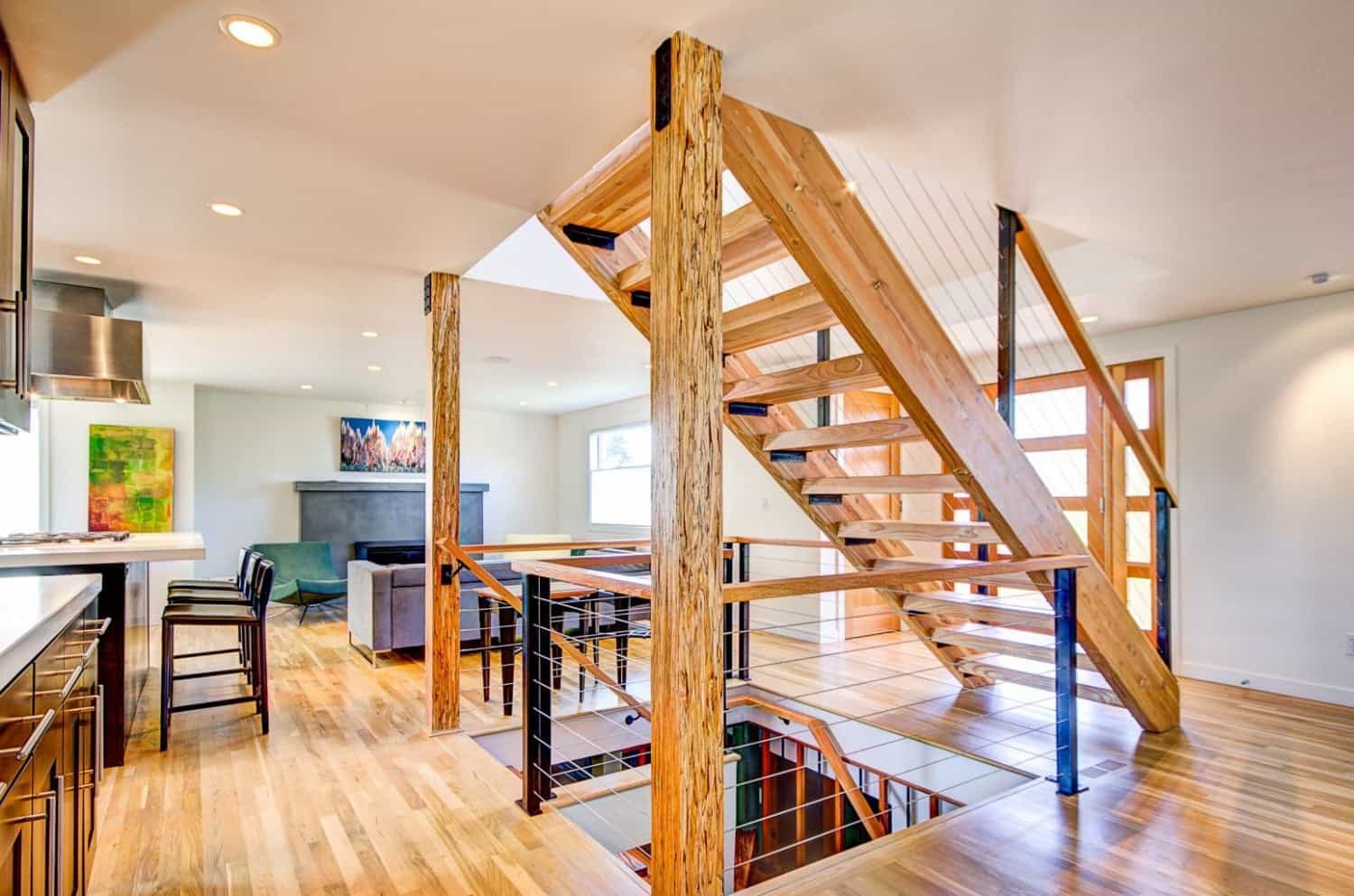 open plan staircase in living room green sets stairs stlfamilylife space with floating wood 48187
