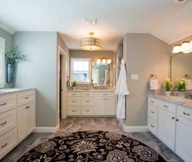 Brown Floral Area Rug To Add Visual Depth To This Master Bathroom Image  Of