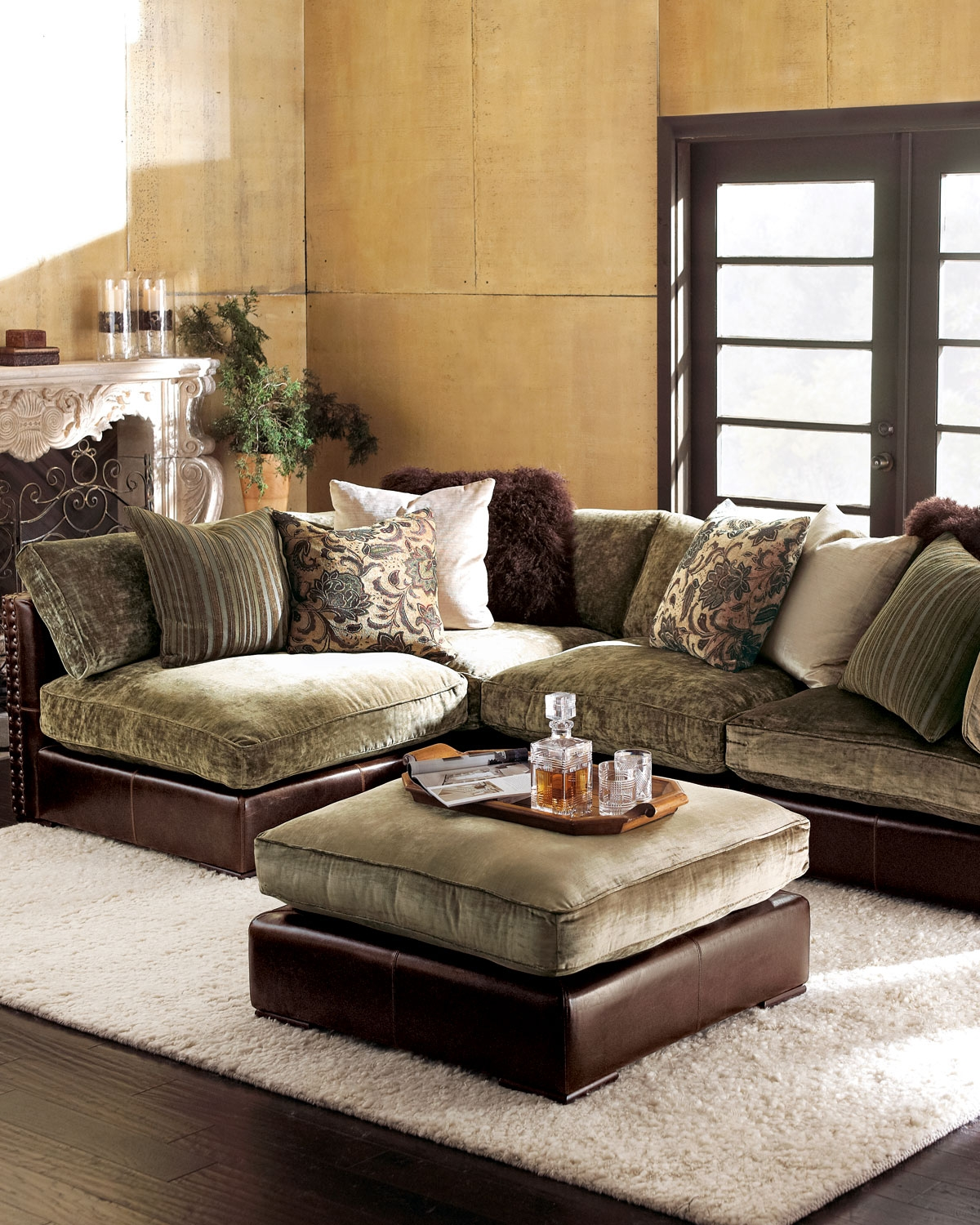 leather and chenille sofa soft pillows 15 43 sectional ideas