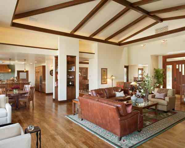 Living Room with Vaulted Wood Ceiling Beams