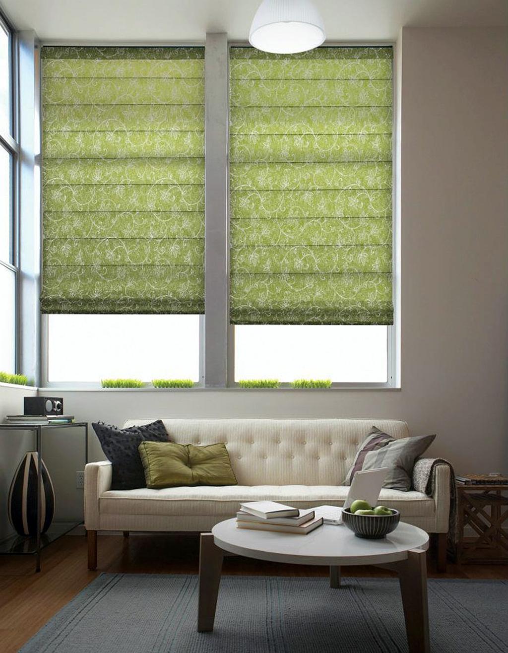15 Inspirations Green Roller Blinds Curtain Ideas