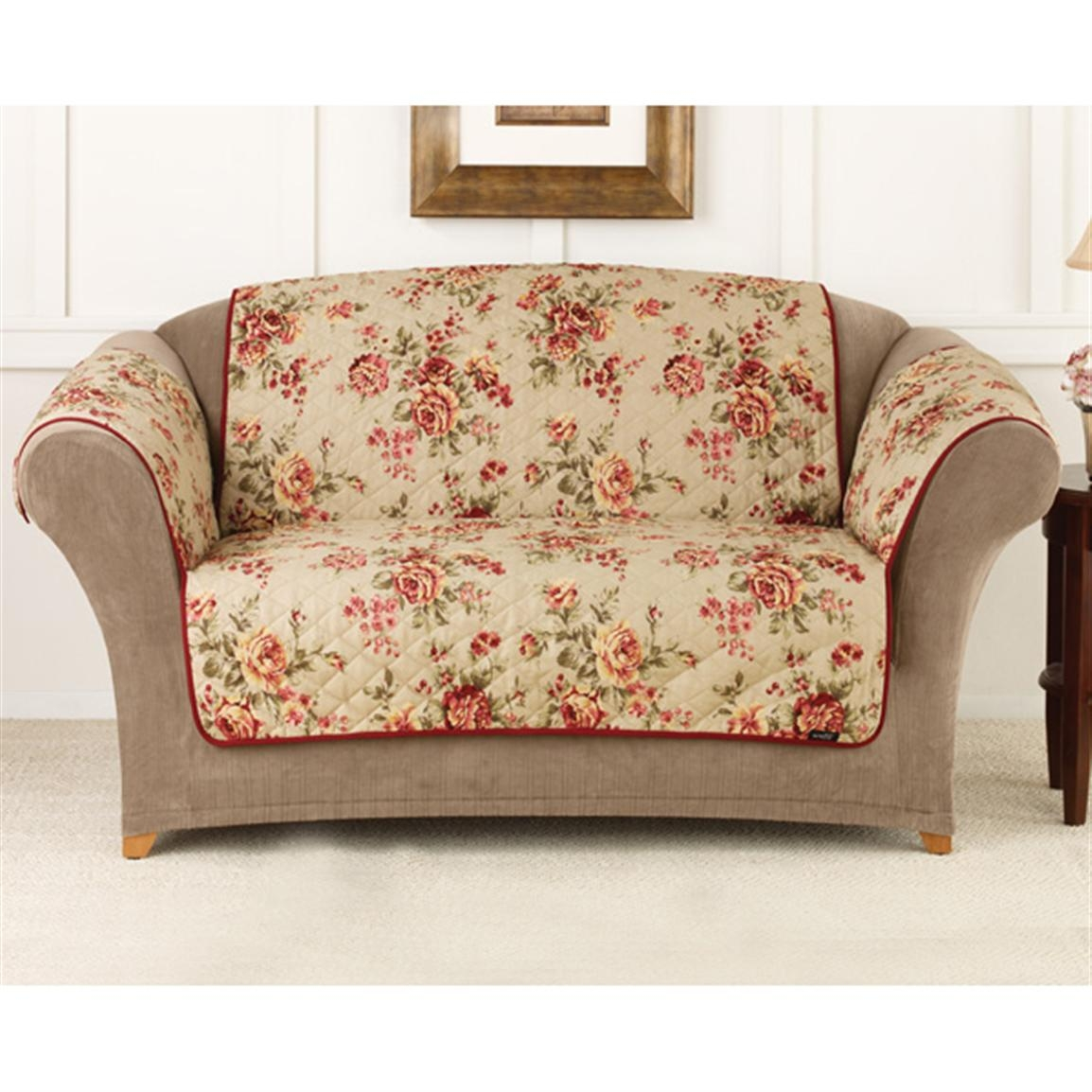 rose sofa slipcover zippered cushion covers chintz ideas