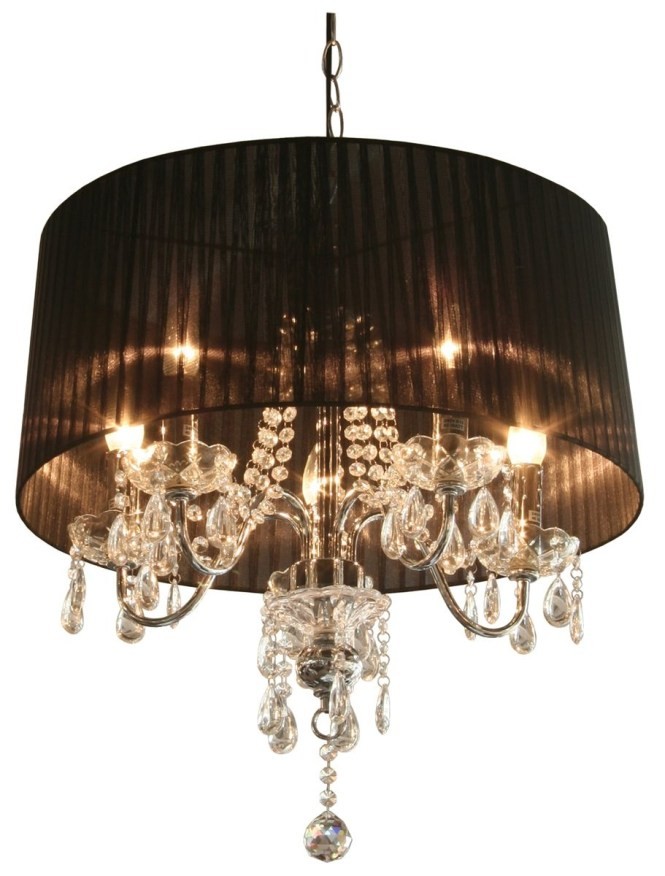 Black Crystal Chandelier With Shade Lavola House Mini Shades Lamp Regard To Chandeliers