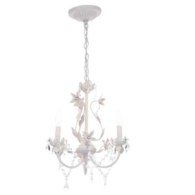 Crystal Chandeliers Hanging Lights The Home Depot With Regard To Small White Image 14
