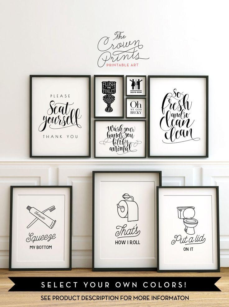 20 Photos Black and White Bathroom Wall Art  Wall Art Ideas