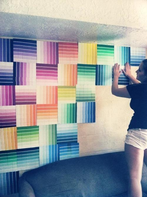 Paint Chip Wall Art Ideas - the 25 best paint chip wall ideas on ...