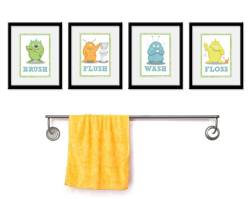 20 Best Collection of Kids Bathroom Wall Art  Wall Art Ideas