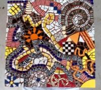 Abstract Mosaic Art on Wall   Wall Art Ideas