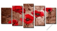 20 Collection of Red Flowers Canvas Wall Art | Wall Art Ideas